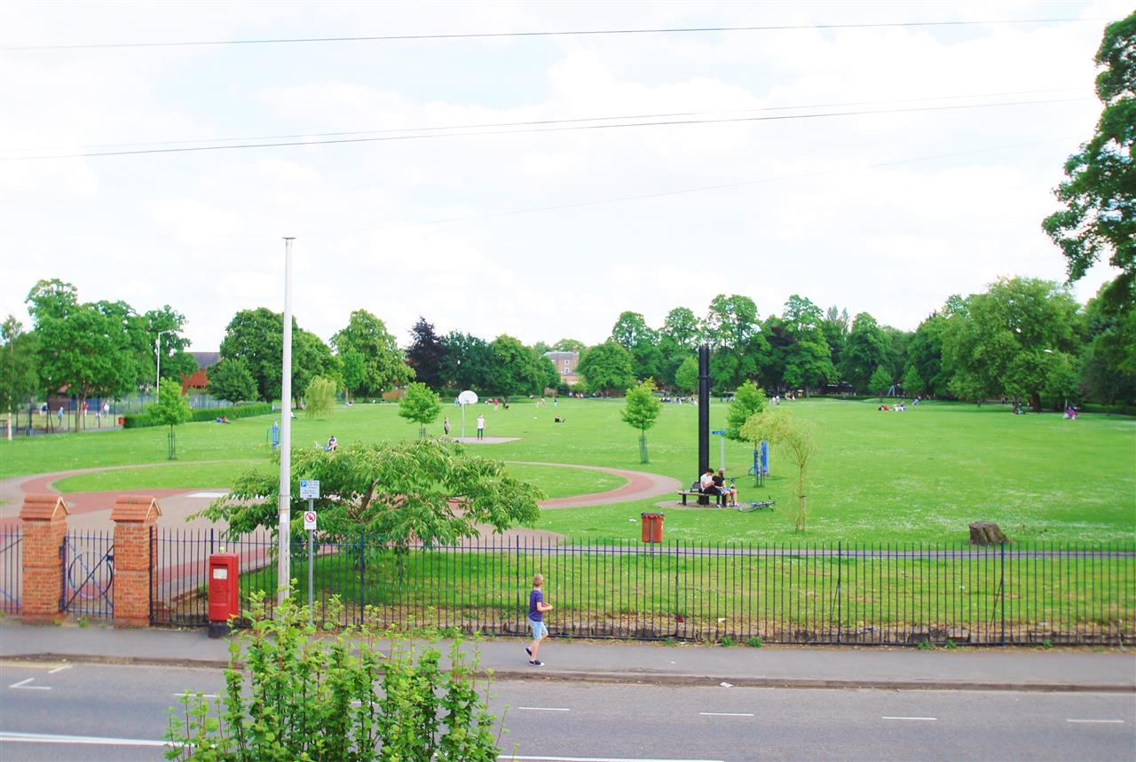 view of the park from bedroom window