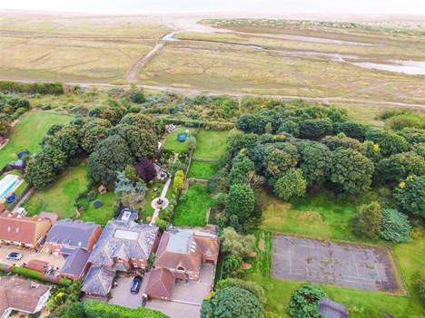 aerial view of rear garden view to sea